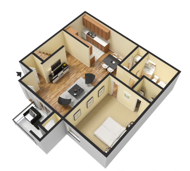 1 Bed 1 Bath - 700 Sq.Ft.