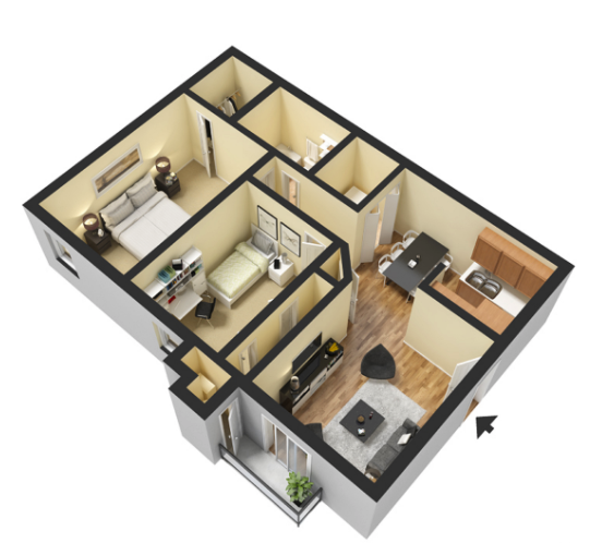 2 bed 1 Bath - 835 Sq.Ft.