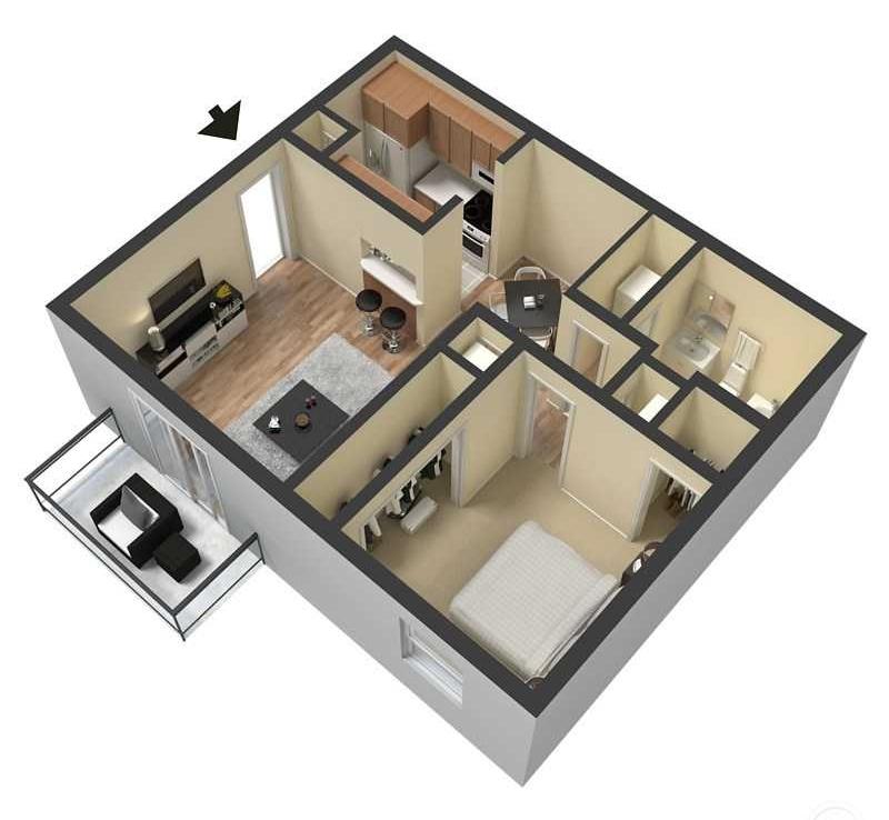 1 Bed 1 Bath - 527 Sq.Ft.