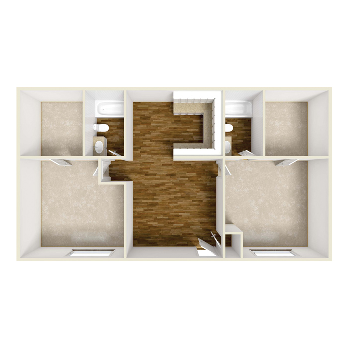 2 Bed 2 Bath - 950 Sq.Ft.