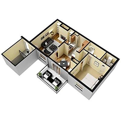 1 Bed 1 Bath 750 Sq.Ft.