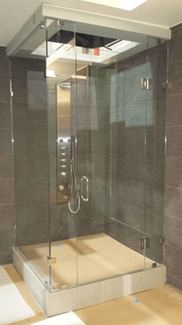 Shower Made Entirely of Custom Glass