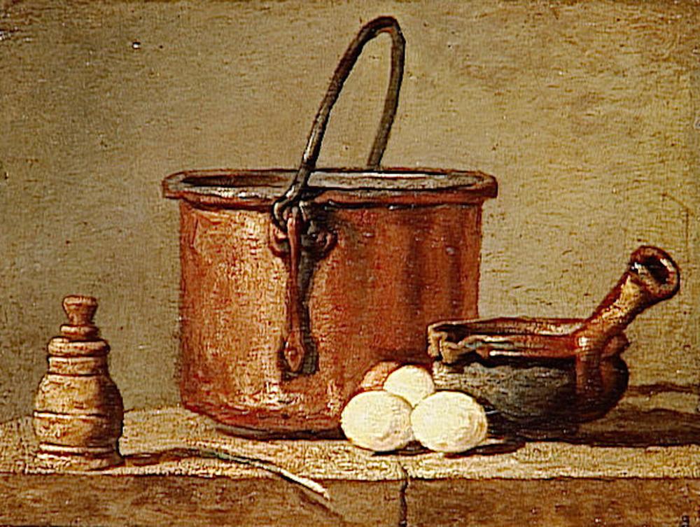 Jean-Baptiste Siméon CHARDIN,Ustensiles de cuisine, chaudron, poêlon et oeufs. Oil on canvas 17x21 cm. Musée du Louvre, Paris..png