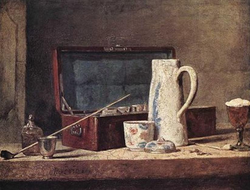 Jean-Baptiste-Siméon Chardin,Still-Life with Pipe an Jug, c. 1737. Oil on canvas, 32,5 x 40 cm. Musée du Louvre, Paris. (1).png