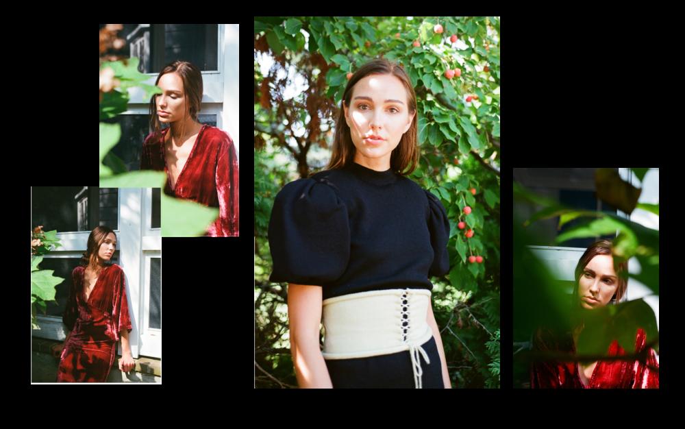 Dress  by Rhode Resort    Dress  is stylist's own,  Belt  by Pearle Knits.