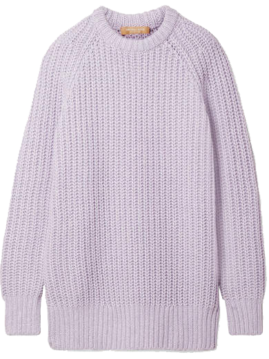 MICHAEL KORS // RIBBED CASHMERE AND LINEN-BLEND SWEATER - LILAC