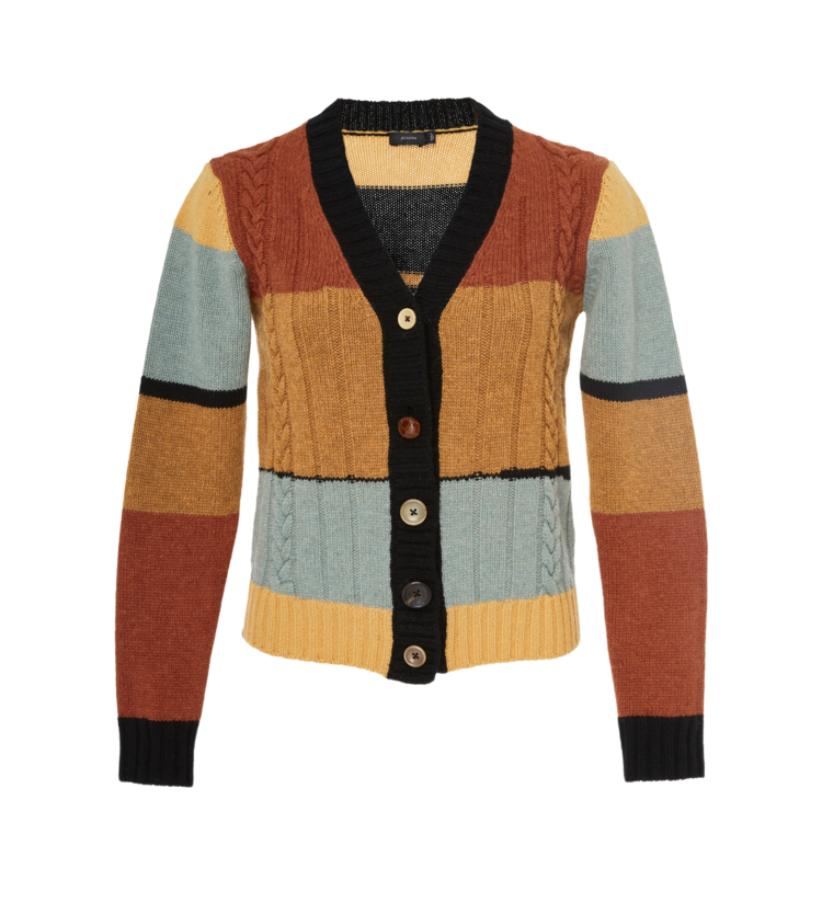 JOSEPH // INTARSIA STRIPED CARDIGAN
