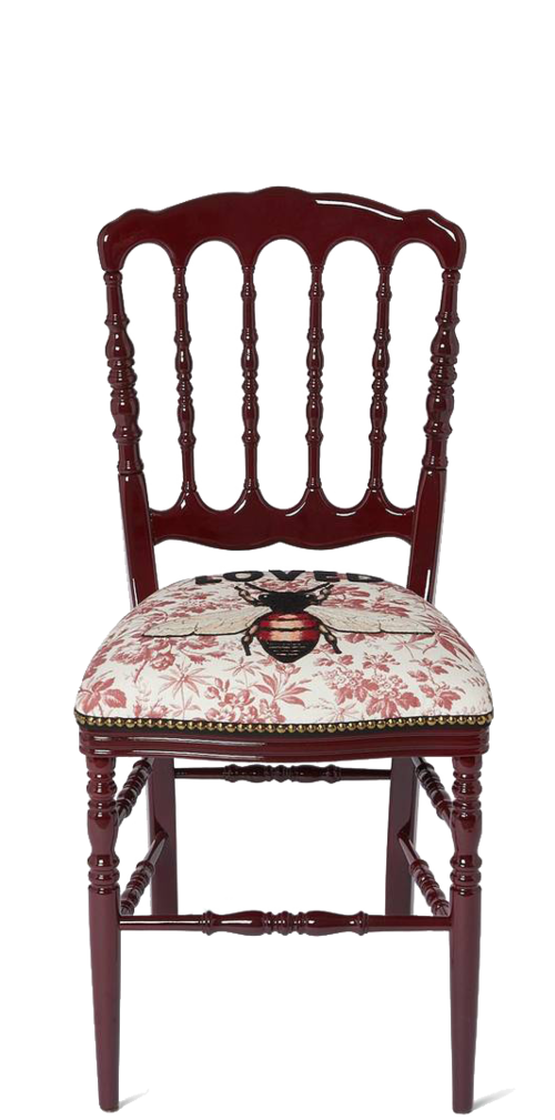 GUCCI  //   WOOD CHAIR WITH EMBROIDERED BEE