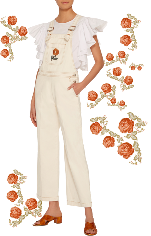 ALEXA CHUNG  // EMBROIDERED FLOWER DUNGAREES