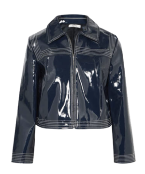 GANNI  // CROPPED FAUX PATENT-LEATHER JACKET - NAVY
