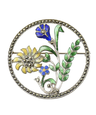 ONE KINGS LANE VINTAGE  // ART DECO ENAMEL FLORAL MARCASITE BROOCH