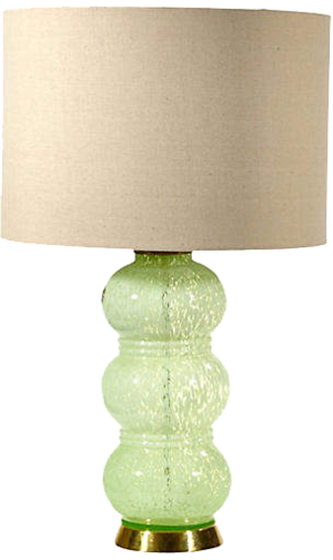 ONE KINGS LANE VINTAGE  // FRENCH GREEN GLASS TABLE LAMP