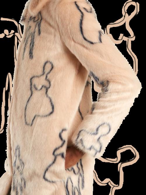SHRIMPS // HELGA NUDE DOODLES-PRINT FAUX-FUR COAT