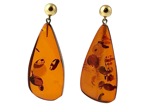 ONE KINGS LANE VINTAGE  // STAR SPANGLED GOLD AND AMBER DROP EARRINGS