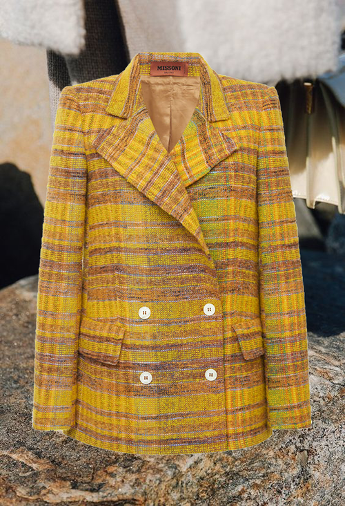 MISSONI  // MULTICOLORED CHECKED BOUCLE JACKET