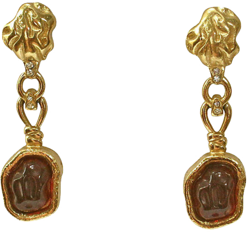 ONE KINGS LANE VINTAGE  // GIVENCHY AMBER CABOCHON DROP EARRINGS