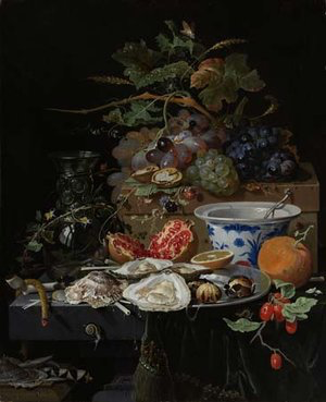 Still Life with Fruit, Oysters and a Porcelain Bowl  by Abraham Mignon