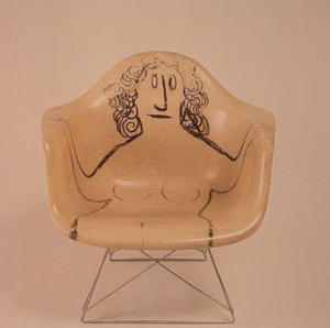 Sauls Steinberg's drawing   on an Eames Chair