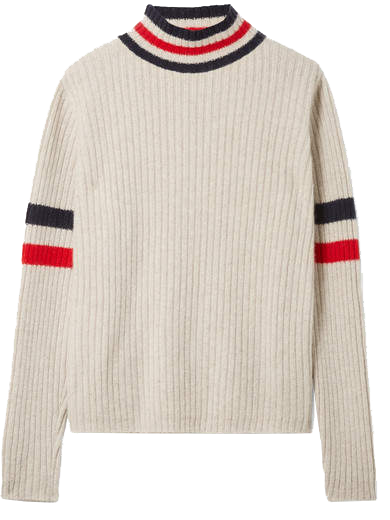 THE ELDER STATESMAN  // ODESSEY STRIPED RIBBED CASHMERE TURTLENECK SWEATER