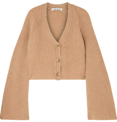 ELIZABETH AND JAMES  // CABOT CROPPED RIBBED MERINO WOOL AND CASHMERE-BLEND CARDIGAN