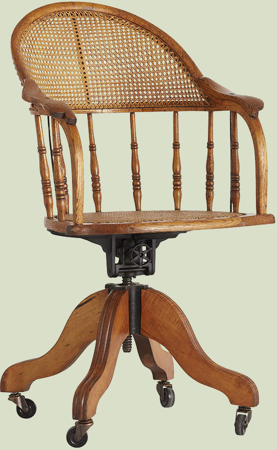 REJUVENATION  // EXCEPTIONAL OAK OFFICE CHAIR WITH CANING & CASTERS