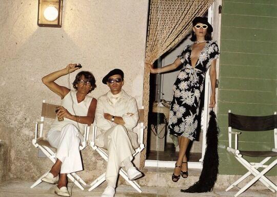 Helmut Newton, Manolo Blahnik and Anjelica Huston for Vogue UK by David Bailey, January 1974