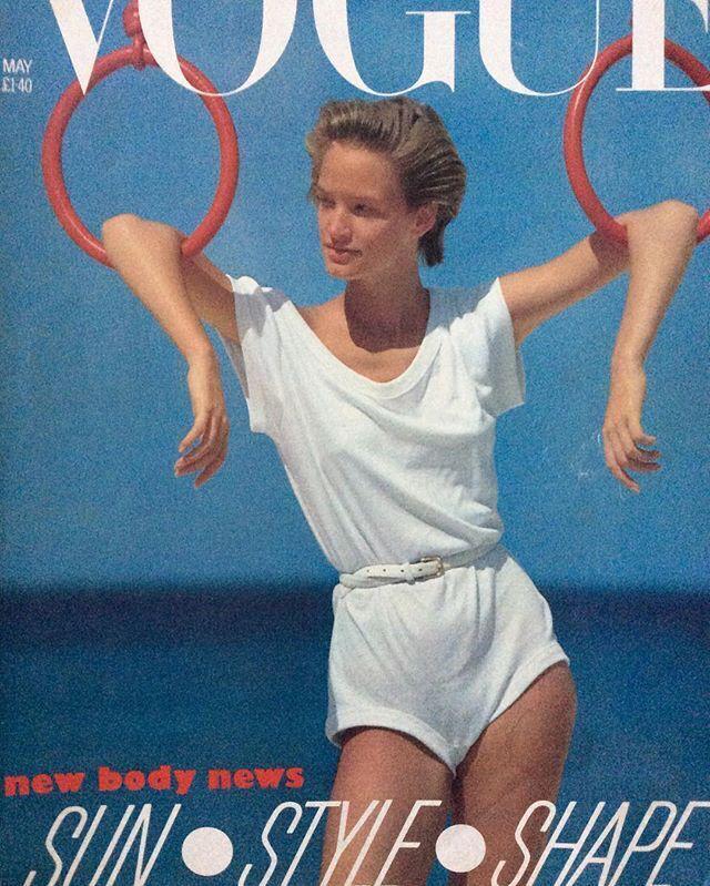Photo  Patrick Demarchelier, Vogue, May 1983.  Model  Bonnie Berman.  Bodysuit  Norma Kamali.