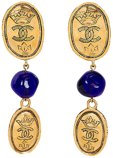 ONE KINGS LANE VINTAGE //  VINTAGE CHANEL BLUE GRIPOIX COIN EARRINGS