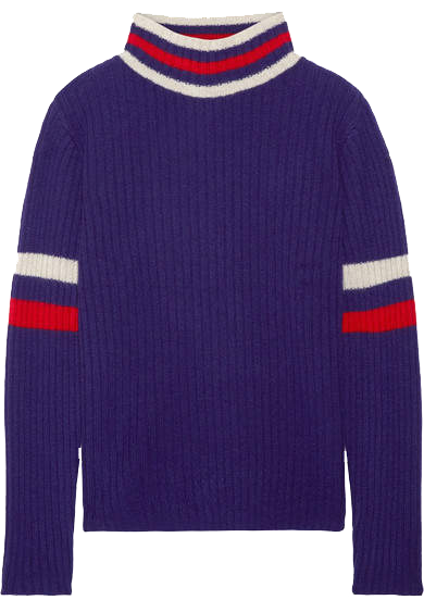 THE ELDER STATESMAN  // ODYSSEY STRIPED RIBBED CASHMERE TURTLENECK SWEATER