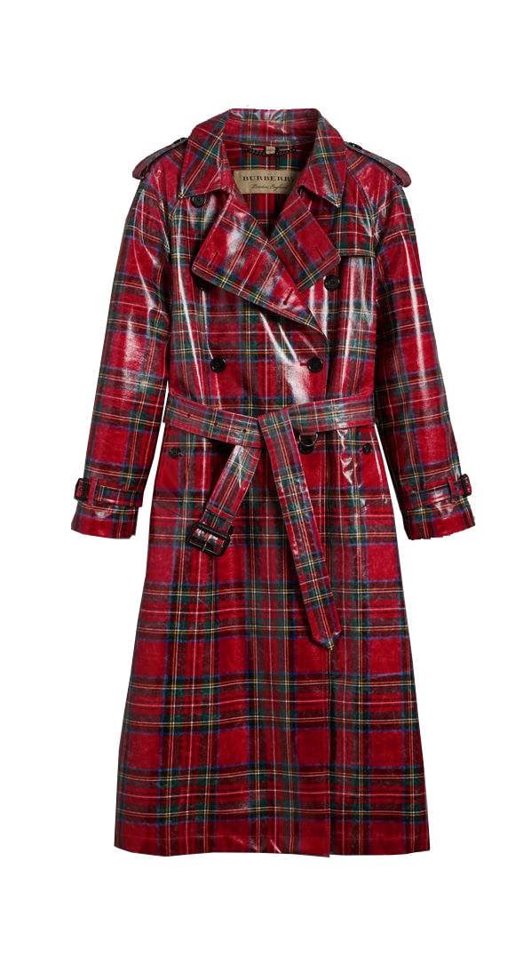 BURBERRY  // LAMINATED TARTAN WOOL TRENCH COAT