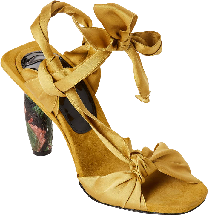 DRIES VAN NOTEN  // YELLOW SATIN & SNAKE-EFFECT KNOTTED SANDALS
