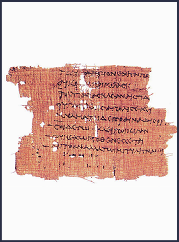 A piece of parchment with Sappho's poems is filled with holes rendering many words illegible or missing.