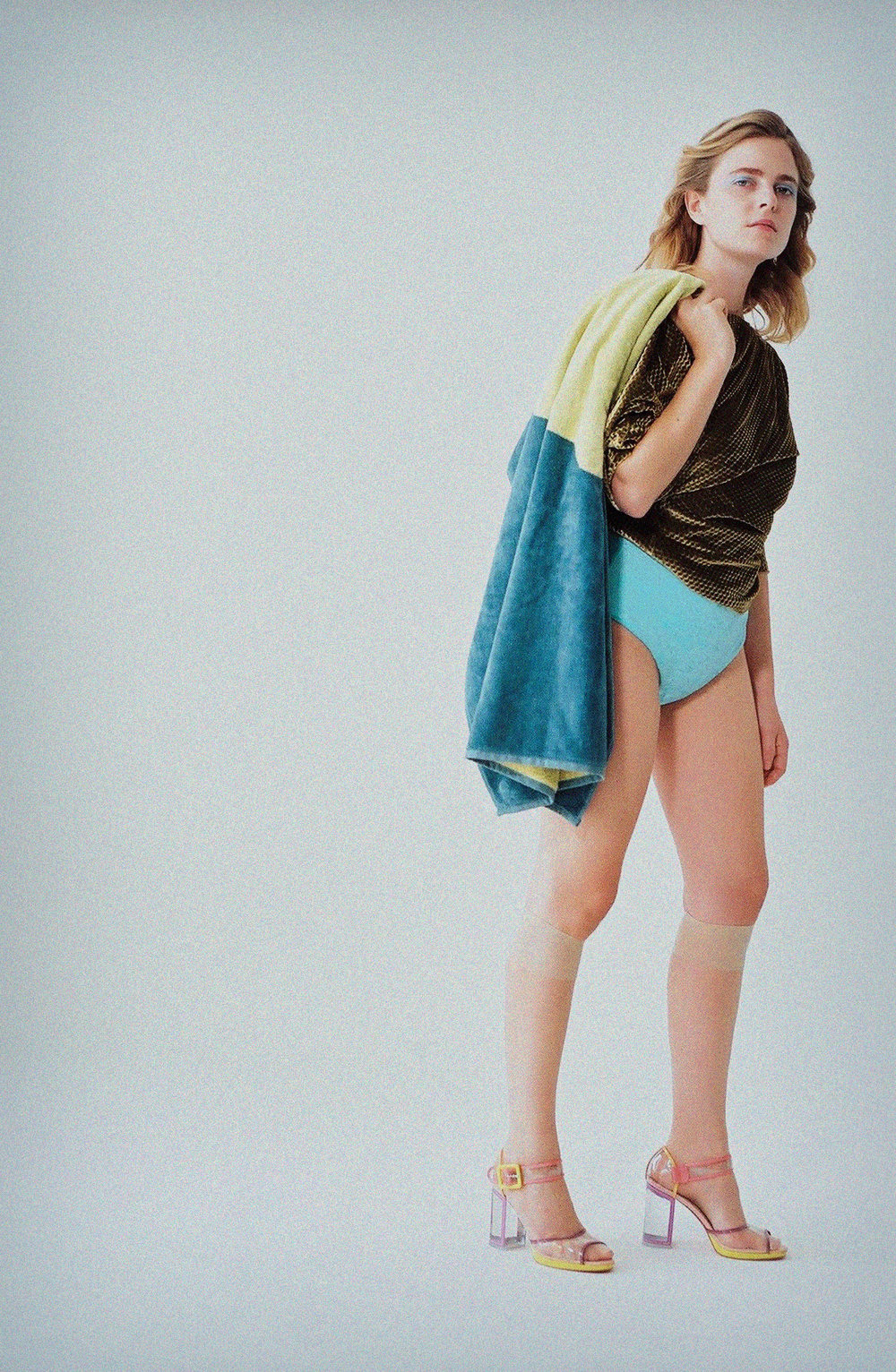 Top by Rachel Comey, Swimsuit by Albertine, Shoes by Christian Louboutin