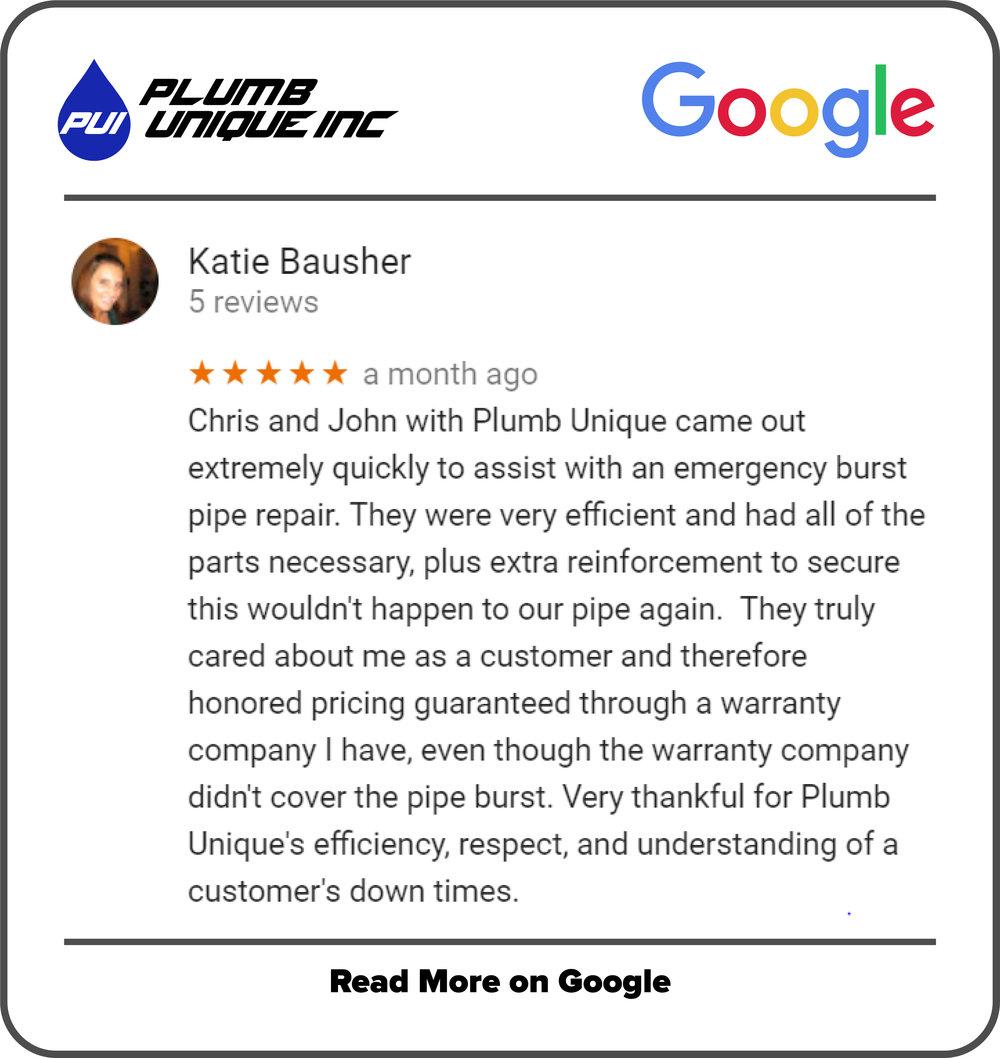 Google Review - Plumb Unique
