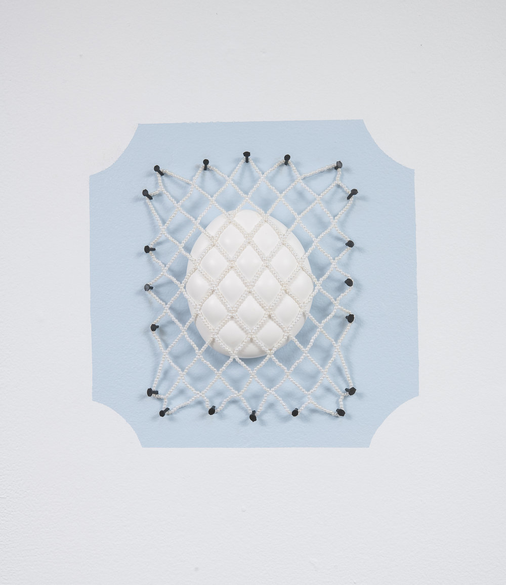 """Softcore Trophy I  (with Tyler Stoll)  plaster, hand-stitched glass pearl net, nails  10"""" x 10"""""""