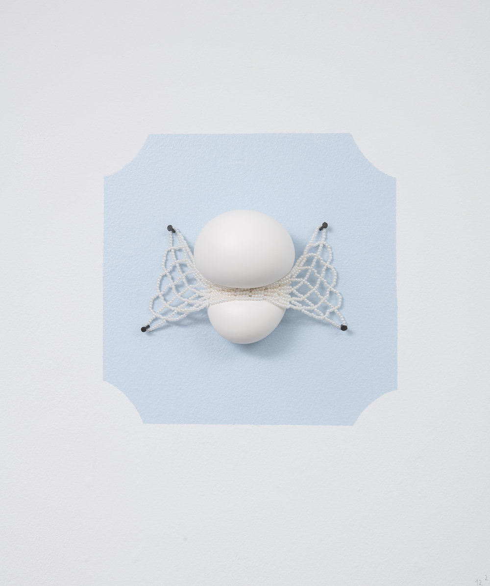 """Softcore Trophy II  (with Tyler Stoll)  plaster, hand-stitched glass pearl net, nails  10"""" x 10"""""""