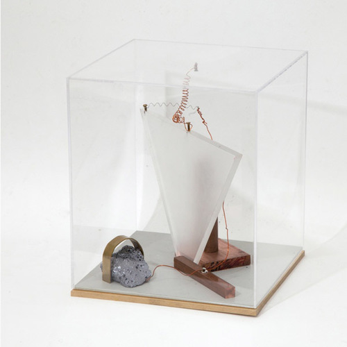 Trying to build a transistor by randomly combining conductor, semi-conductor and an isolator. Copper, silicon, plastic, brass and bronze. 2015