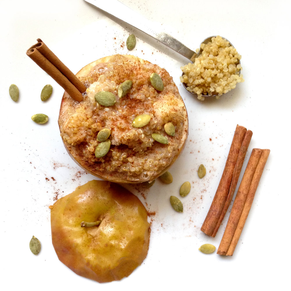 Cinnamon Quinoa Baked Apples. The perfect treat for breakfast during the winter months. These warm stuffed apples are fueling, so delicious and easy.