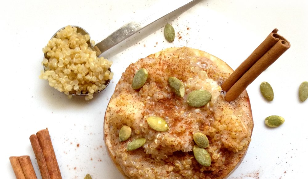 Cinnamon Quinoa Stuffed and Baked Apples. The perfect warm and sweet treat for breakfast. Packed with protein to keep you full longer, this meal is warmed to perfection.