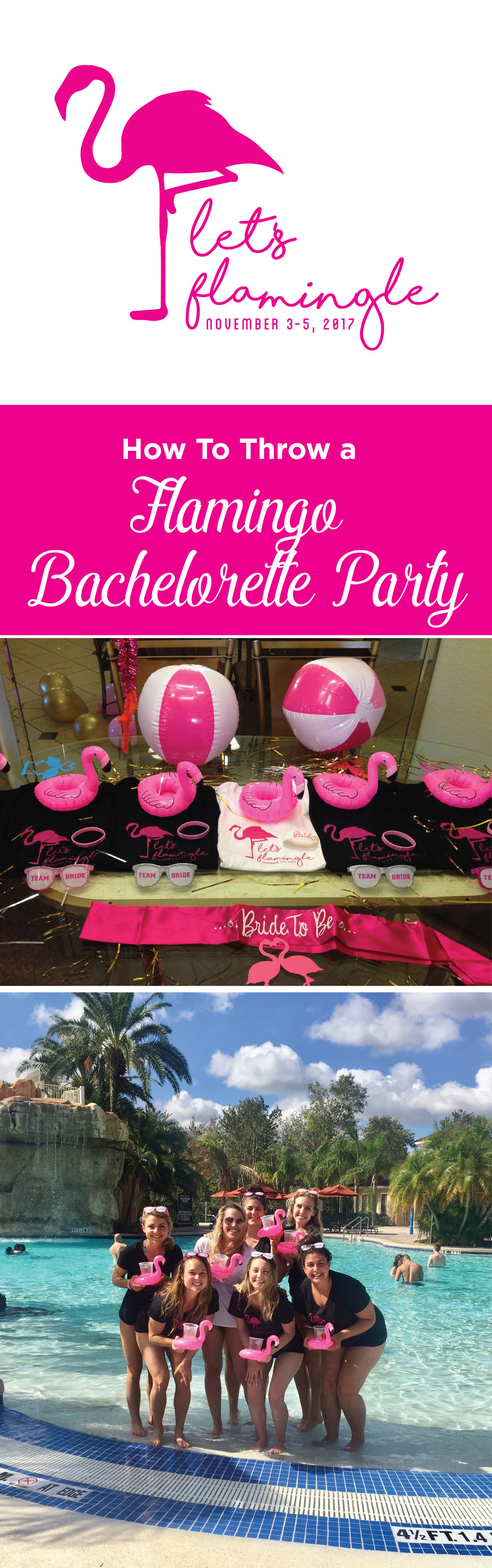 Let's Flamingle! A Flamingo Themed Bachelorette Party. Easy step-by-step instructions to throw the best Bachelorette ever!