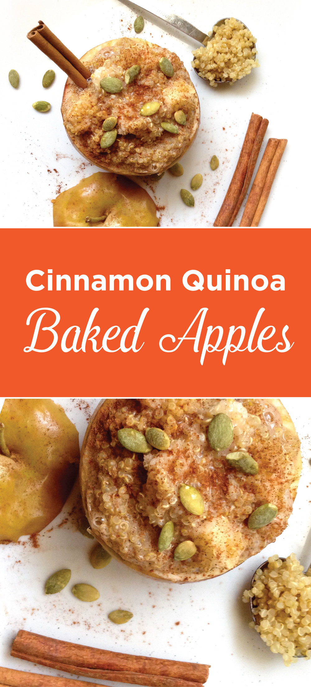 Healthy Cinnamon Quinoa Stuffed Apples. Baked to perfection! This warm and delicious breakfast is perfect for those chilly mornings. Fuel your body with this protein-packed meal.
