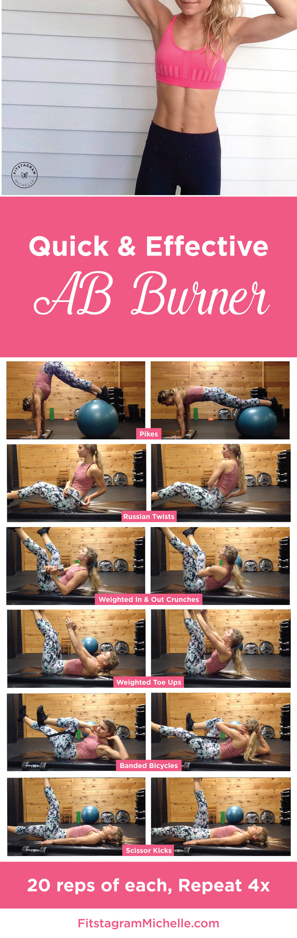 Quick & Effective Ab Burner Workout by @FitstagramMichelle. Get tight and lean abs with these 6 simple moves.