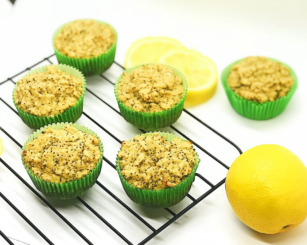 Coconut Lemon Poppy Muffins. High in fiber, low in sugar, no oil, no butter, no fake sugar.