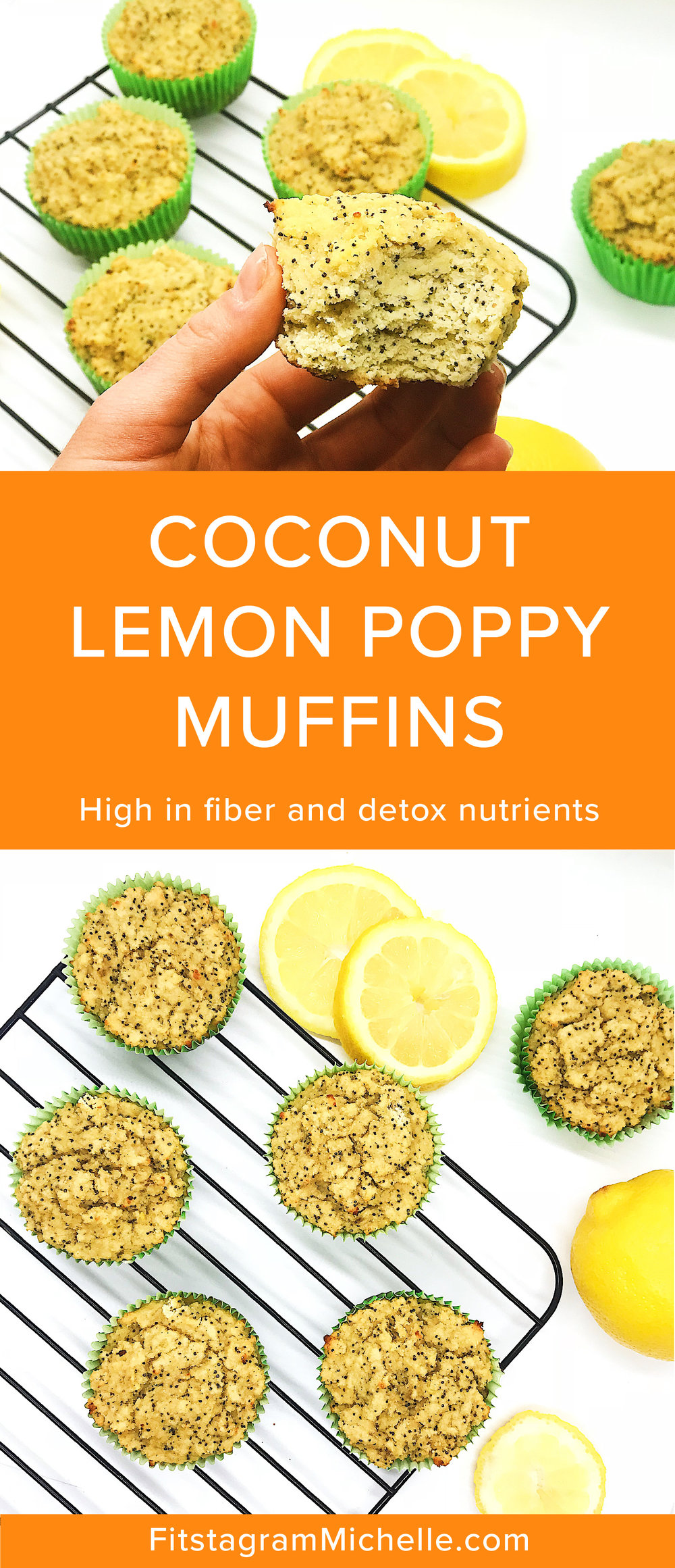 Coconut Lemon Poppy Muffins. Packed with protein, high in fiber and perfect for a detox. Oil-free, sugar-free, dairy-free, butter-free.
