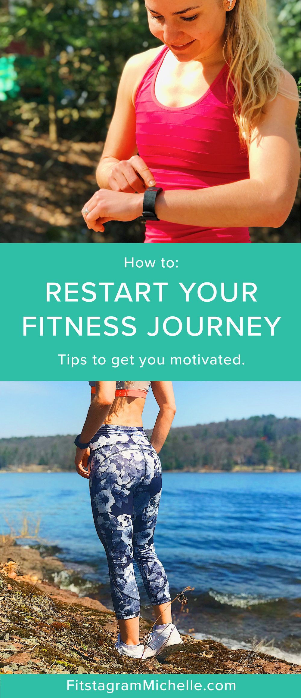 Fitstagram Michelle's tips for restarting (or starting) your fitness journey.. These are the top things to get your motivated and out of a slump. Get fit for the summer with these 6 things.