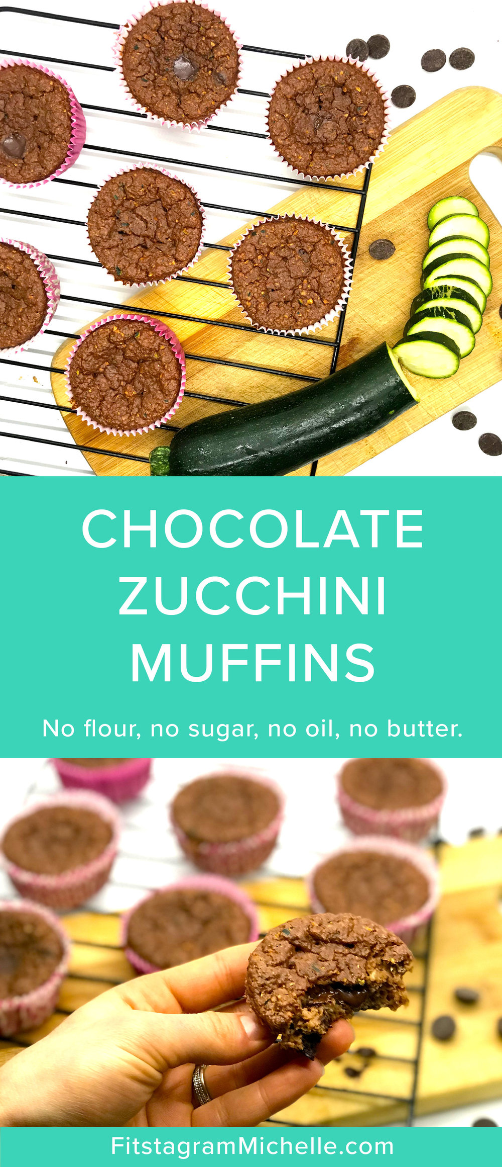 Healthy Chocolate Zucchini Muffins made with the superfood, cacao. No flour, no sugar, no oil, no butter. Just clean ingredients. See fitstagrammichelle.com for the full recipe.