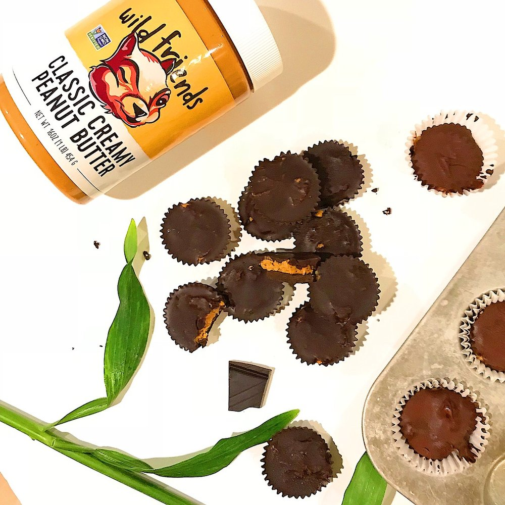 Healthy dark chocolate Reese's Cups! These are the perfect healthy treat and super simple to make.  6 ingredients you likely already have in your kitchen. No baking required.