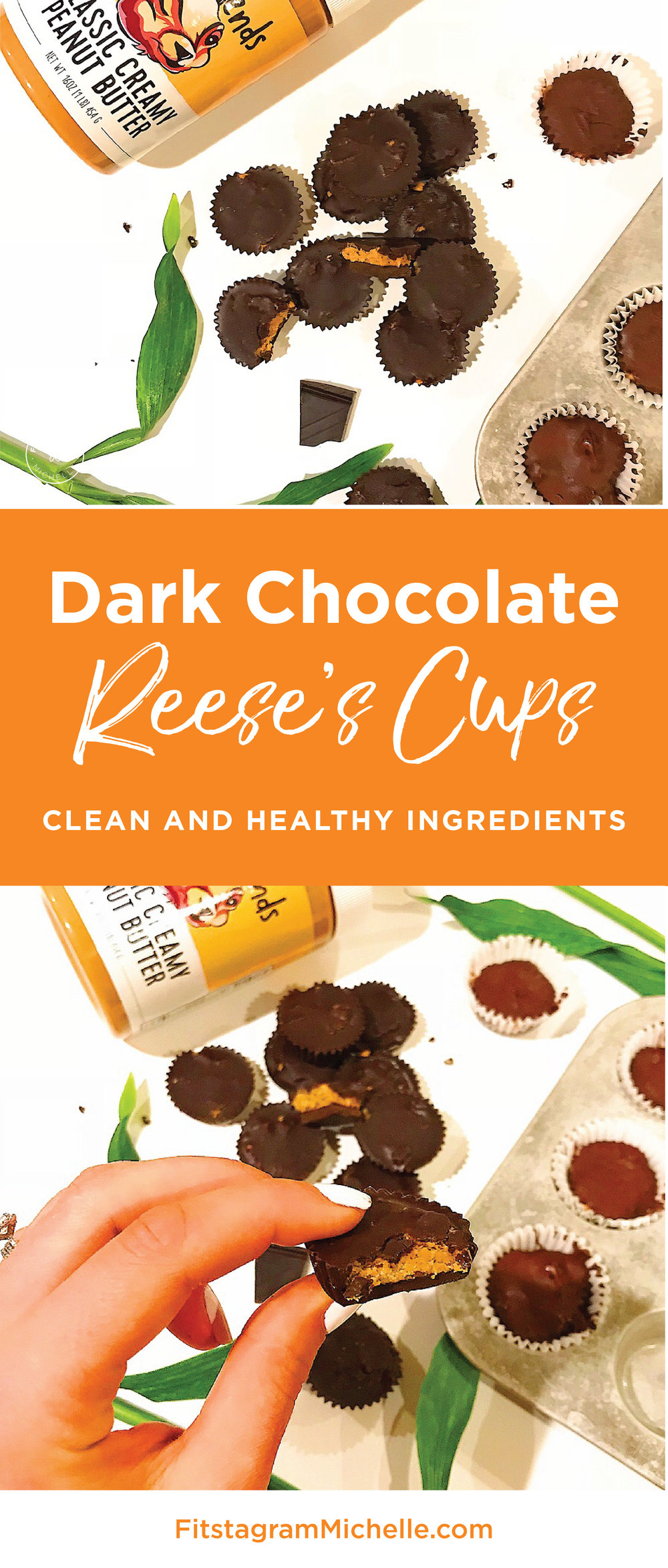 Healthy dark chocolate Reese's Peanut Butter Cups! Only 6 clean ingredients. These are the perfect dessert and crowd pleaser.
