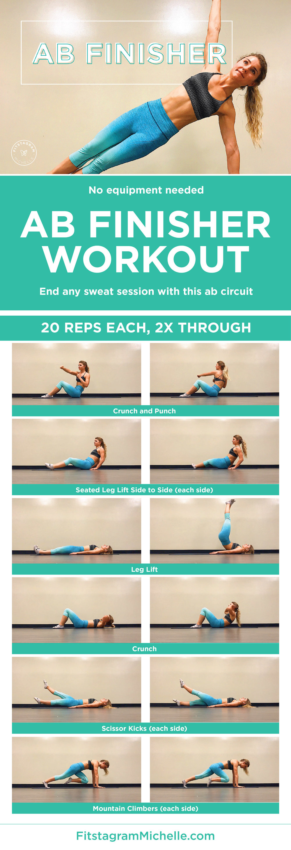 AB Finisher Workout. Add this short workout to the end of any workout and you will burn your abs. Get tight and toned waist-line in five simple moves. No equipment needed. At-home or at the gym!