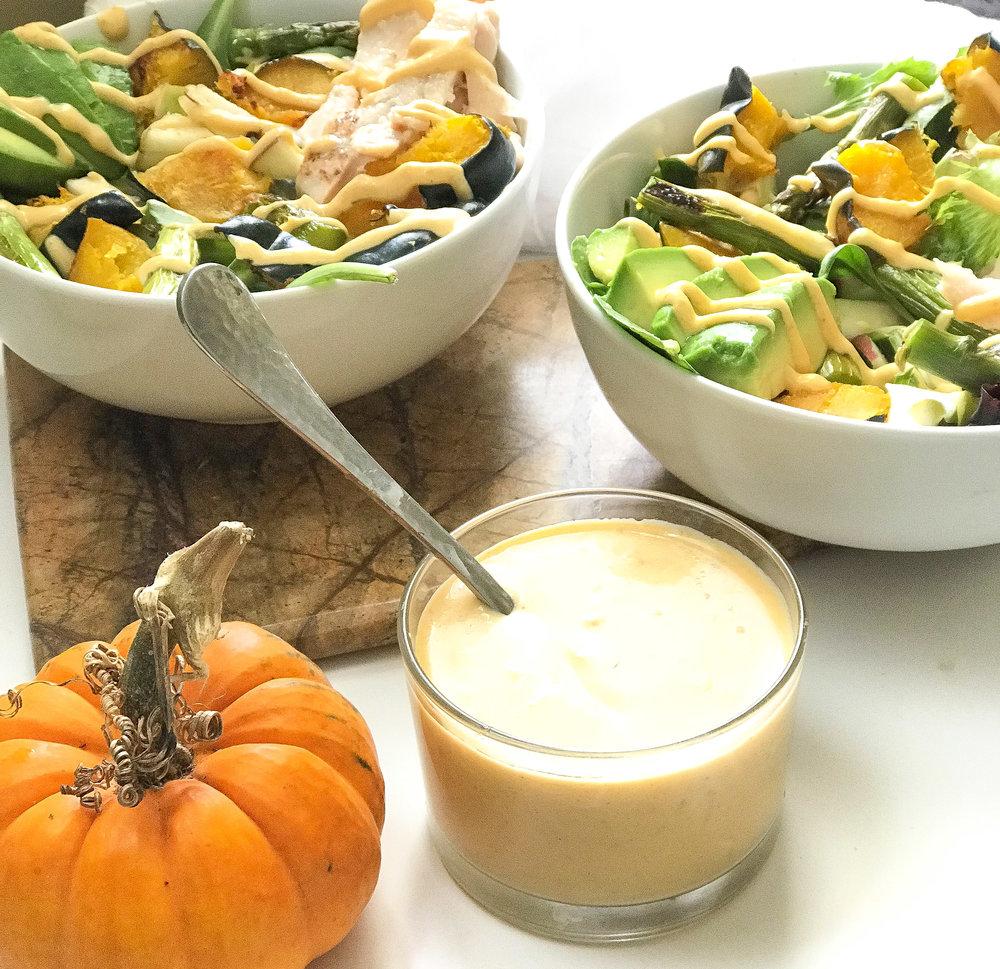 Fall salad with pumpkin dressing -